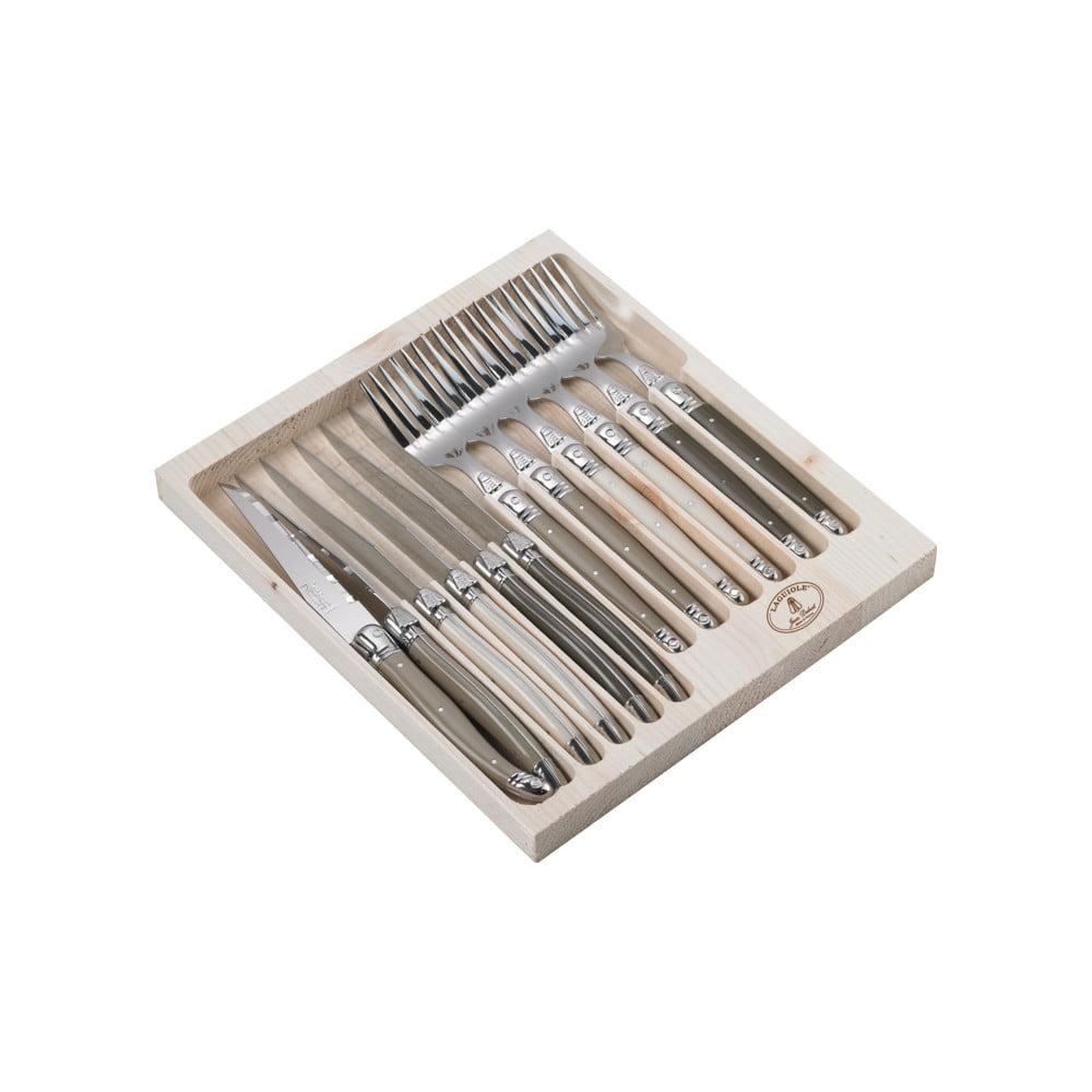 Sada 12 príborov z antikoro ocele v drevenom balení Jean Dubost Linen