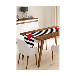 Behúň na stôl z mikrovlákna Minimalist Cushion Covers Stripes with Red Heart, 45 × 145 cm