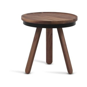 Hnedý odkladací stolík z dubového dreva s čiernymi detailmi a podnosom Woodendot Batea S