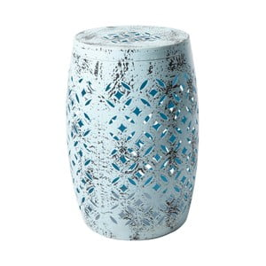 Modrá kovová ručne maľovaná stolička RGE Nour, ⌀ 30 cm