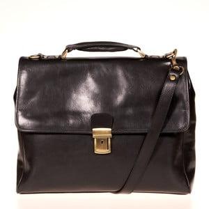 Čierna kožená taška cez rameno Italia in Progress Federico