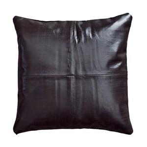 Tmavohnedý kožený vankúš Fuhrhome Rabat, 45×45cm