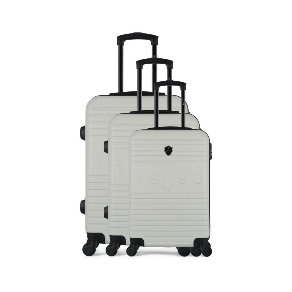 Sada 3 béžových cestovných kufrov na kolieskach GENTLEMAN FARMER 1990 Valises