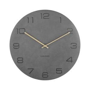 Sivé nástenné hodiny Karlsson Vigorous, Ø40cm