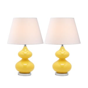 Sada 2 stolových lámp so žltou základňou Safavieh Gabriel