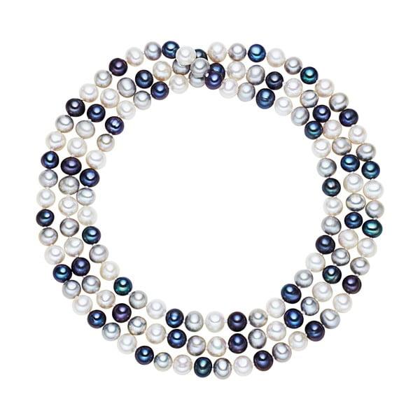 Bielo-modrý perlový náhrdelník Chakra Pearls, 120 cm