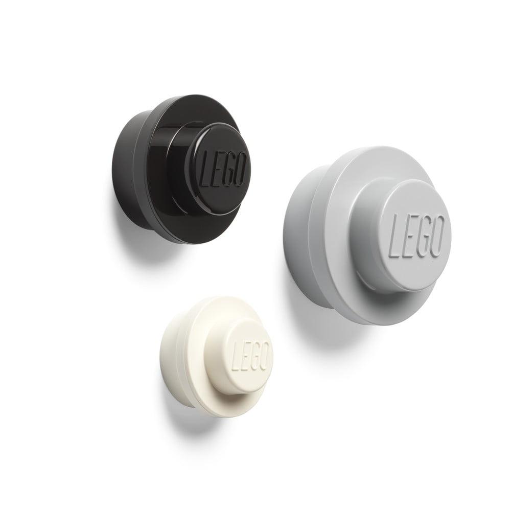 Sada 3 vešiakov na stenu LEGO® Black And White