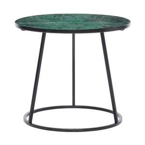 Čierny odkladací stolík so zelenou mramorovou doskou Hübsch Dana