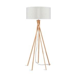 Stojacia lampa so svetlobéžovým tienidlom a konštrukciou z bambusu Good&Mojo Kilimanjaro