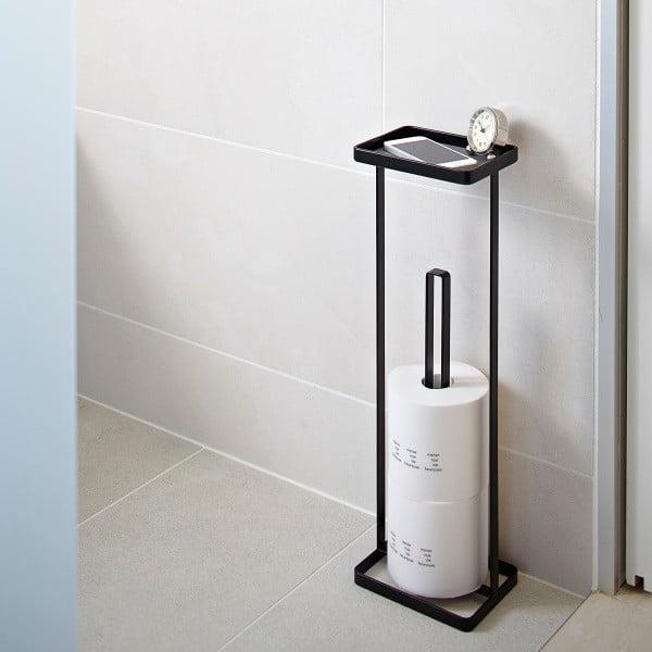 Čierny zásobník na toaletný papier spoličkou Yamazaki Tower
