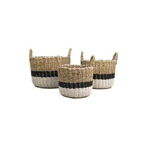 Sada 3 úložných košíkov HSM collection Raffia Natural White Duro