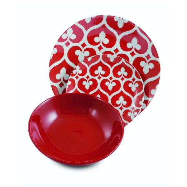 Sada porcelánových tanierov Mandala Rosso, 12 ks