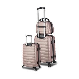 Sada 2 ružových cestovných kufrov na kolieskach s USB porty a príručného kufríka My Valice RESSO Cab Med & MU