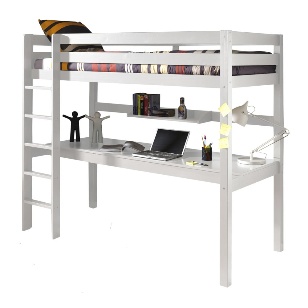 Biela poschodová posteľ s pracovným stolom Vipack Pino, 200 × 105 cm