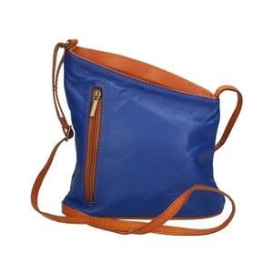 Modro-hnedá kožená kabelka Chicca Borse Garturo