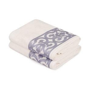 Sada 2 bielych uterákov na ruky s fialovým lemovaním Grace