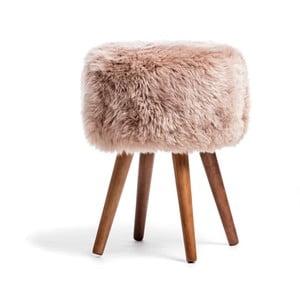 Stolička s béžovým sedadlom z ovčej kožušiny Royal Dream, ⌀30cm