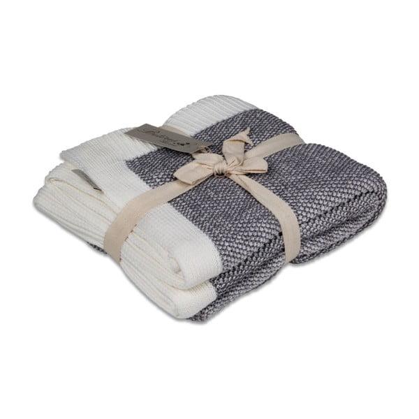 Tmavosivá bavlnená deka Couture, 170×130cm
