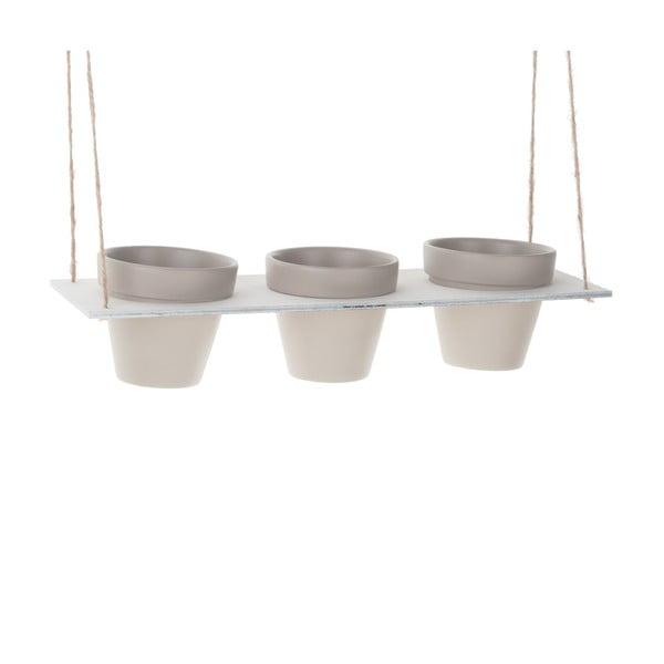 Sada 3 závesných kvetináčov Grey