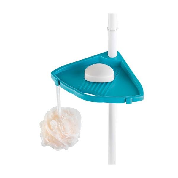 Modrá teleskopická nástenná polička do kúpeľne Wenko Compact