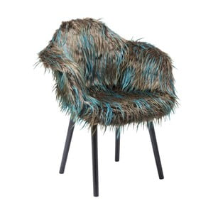 Hnedo-modrá jedálenská stolička s poťahom z umelej kožušiny Kare Design Yeti