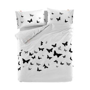Bavlnená obliečka na perinu Blanc Butterflies, 155×220 cm