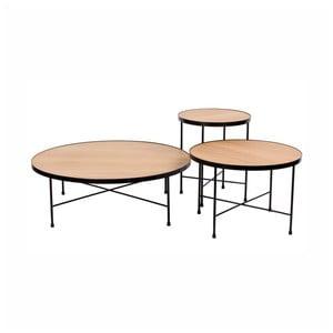 Sada 3 konferenčných stolíkov z dreva a ocele Nørdifra Tre