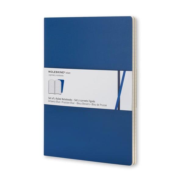 Sada 2 notesov Moleskine Blue Volant, 14x9 cm