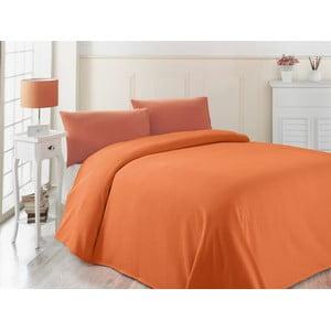 Oranžová ľahká prikrývka cez posteľ Oranj, 200x230cm