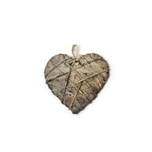 Sivá závesná dekorácia v tvare srdca Ego Dekor, dĺžka 35 cm