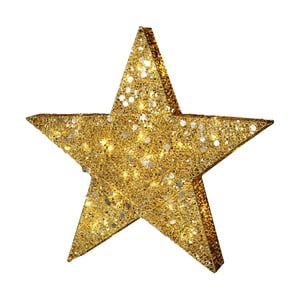Svietiaca LED dekorácia Best Season Golden Star, výška 70 cm