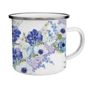 Smaltovaný hrnček s modrými kvetmi TinMan, 200 ml