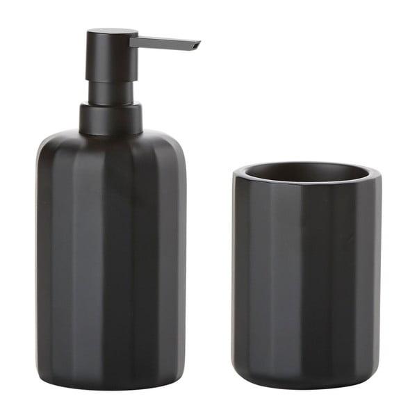 Čierny dávkovač mydla a kelímok Zone Graphic