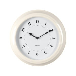 Krémové nástenné hodiny Present Time Fifties, priemer 30cm