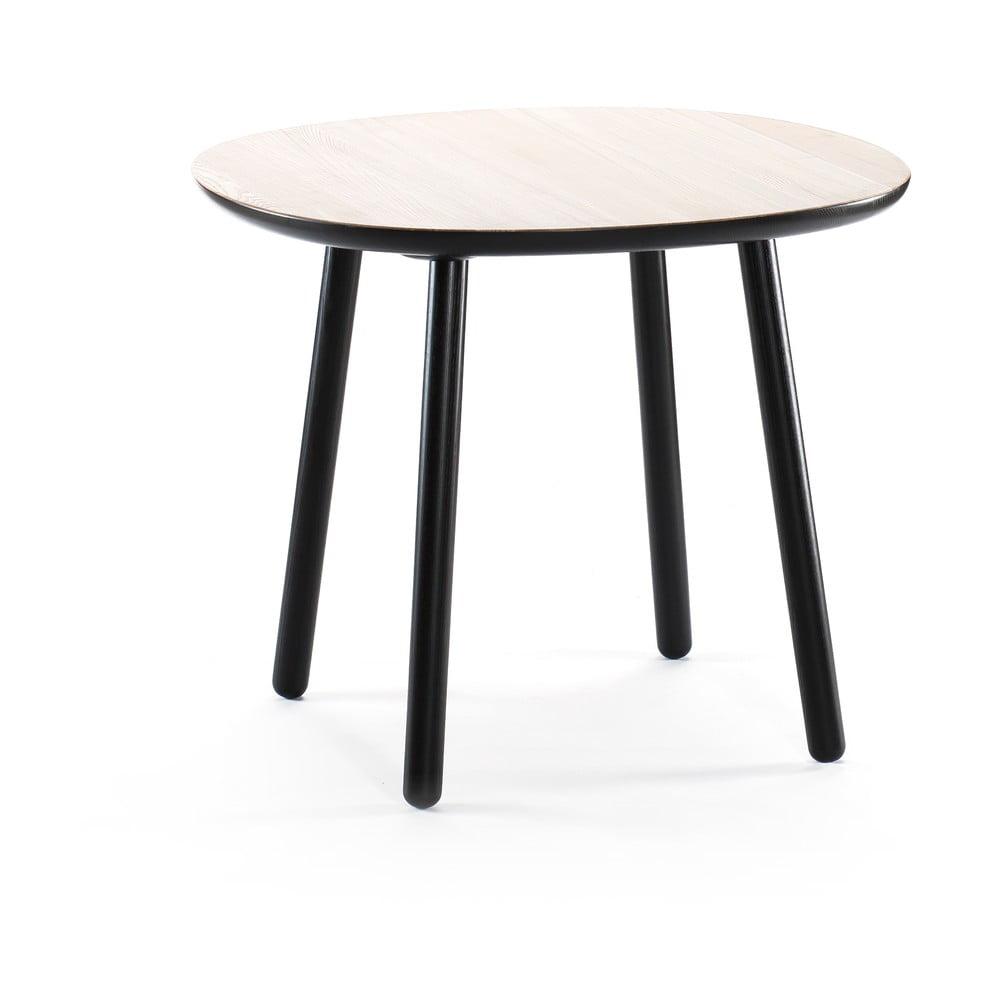 Čierno-biely jedálenský stôl z masívu EMKO Naïve, ⌀ 90 cm