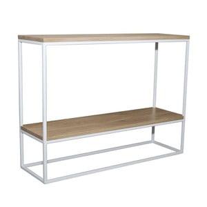 Biely konzolový stolík s doskou z dubového dreva Take Me HOME Plock, 100×30cm
