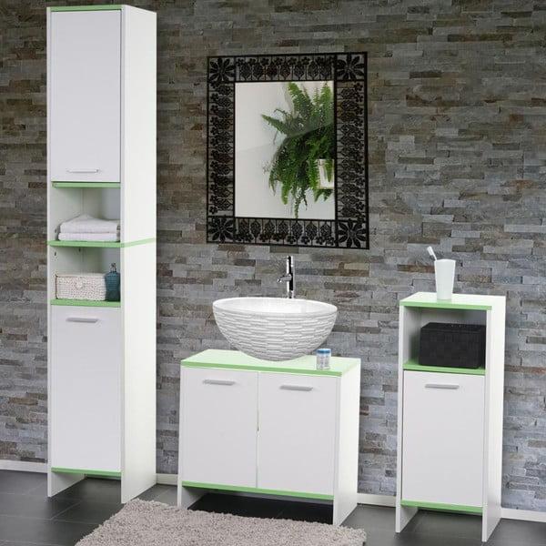 Kupeľňová skrinka Sonoma White/Green, 28x32x82 cm