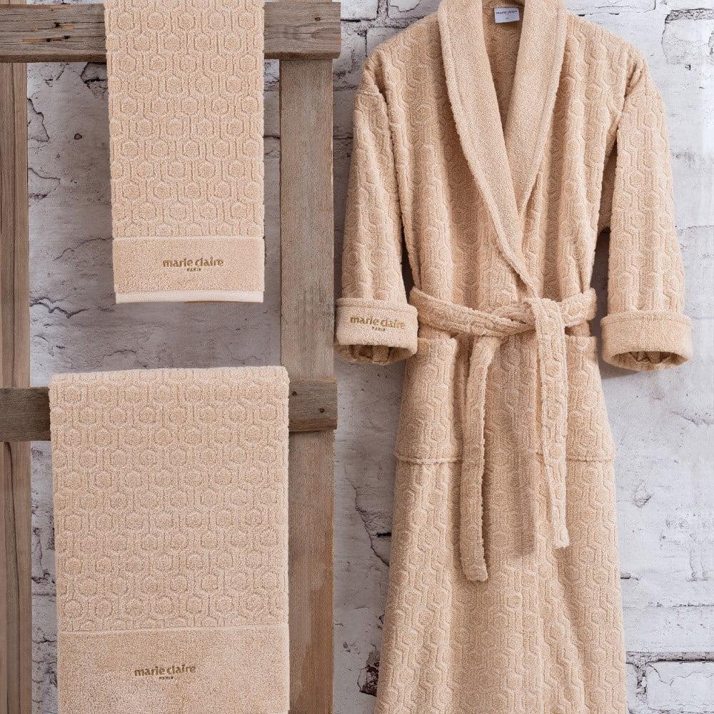 Set hnedého bavlneného dámského župana veľkosti S, uteráka a osušky Bathrobe Set Lady