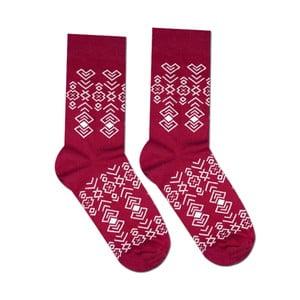 Červené bavlnené ponožky Hesty Socks Geometry, vel. 35-38