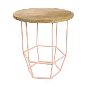Ružový stolík s doskou zmangového dreva HF Living Hexa Blush