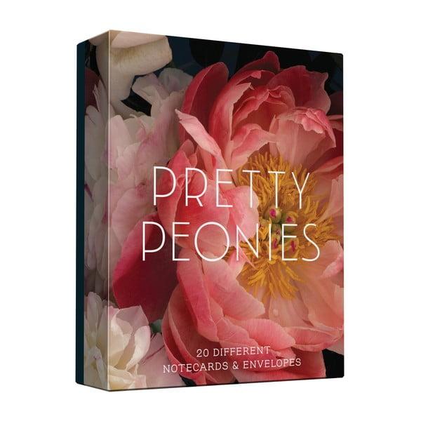 Sada prianí a obálok Chronicle Books Prety Peonies, 20ks