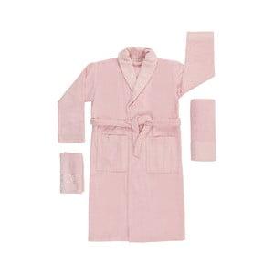Set 2 ružových uterákov a unisex župana z čistej bavlny Kimmy, veľ. M/L