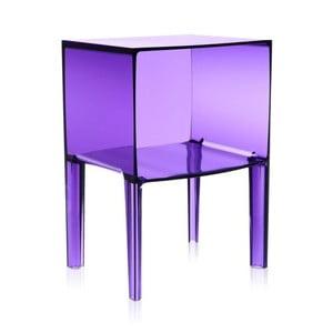 Fialový transparentný nočný stolík Kartell Ghost Buster
