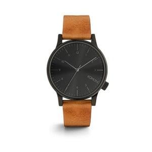 Pánske hnedé hodinky s koženým remienkom a čiernym ciferníkom Komono Regal Cognac