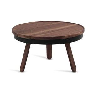 Hnedý odkladací stolík z dubového dreva s čiernymi detailmi a úložným priestorom Woodendot Batea M