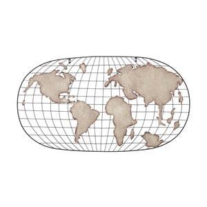 Kovová nástenná dekorácia Mauro Ferretti Globe Oval Dark