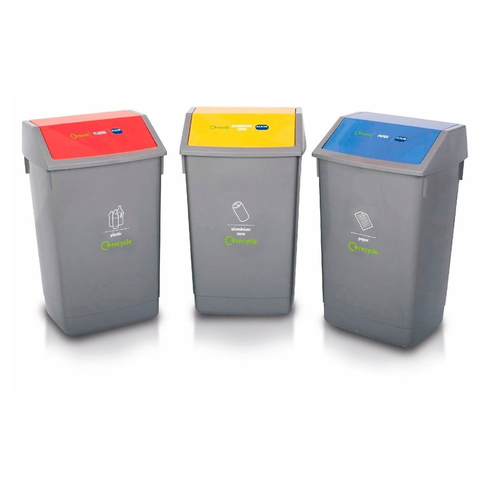 Sada 3 košov na triedený odpad Addis Recycle, 60 l