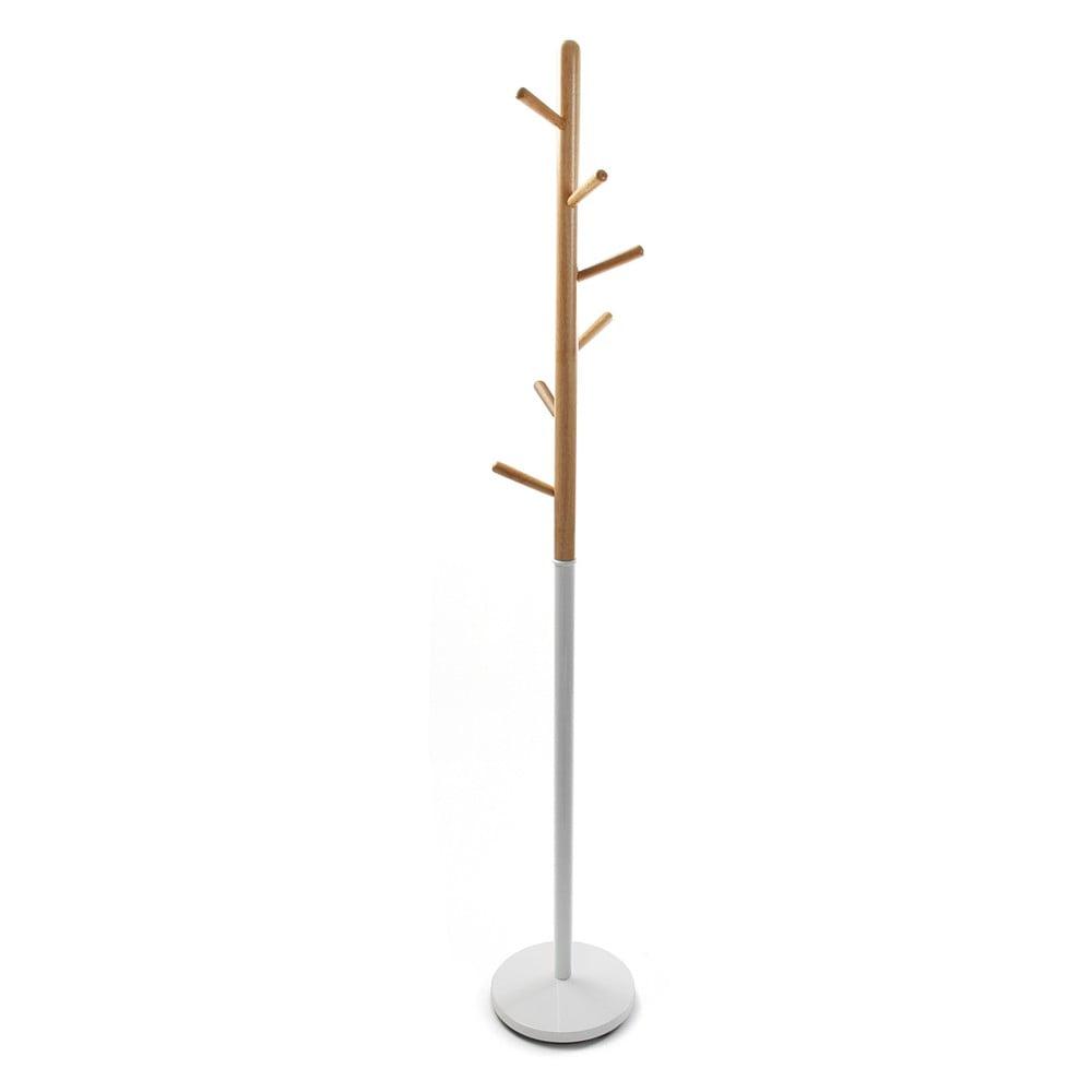 Biely vešiak s drevenými prvkami VERSA Clothes, výška 180 cm
