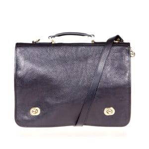 Čierna kožená taška cez rameno Italia in Progress Trovatore
