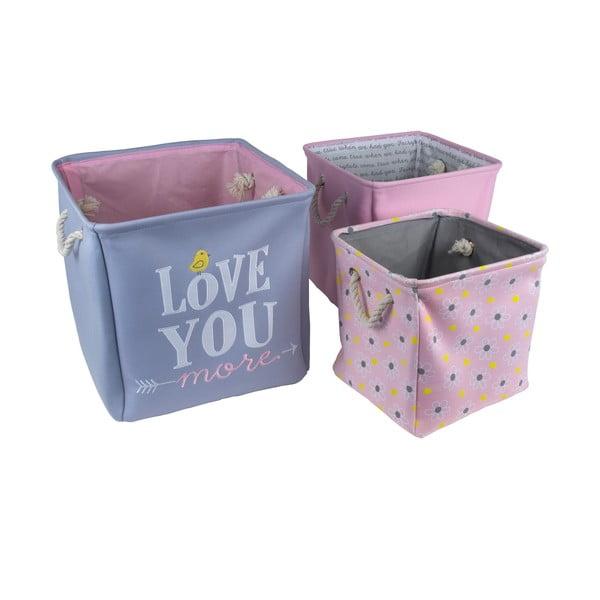 Sada 3 detských úložných boxov Love You